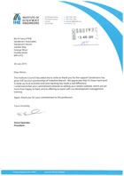IHE Presidents Letter to Sanderson Associates
