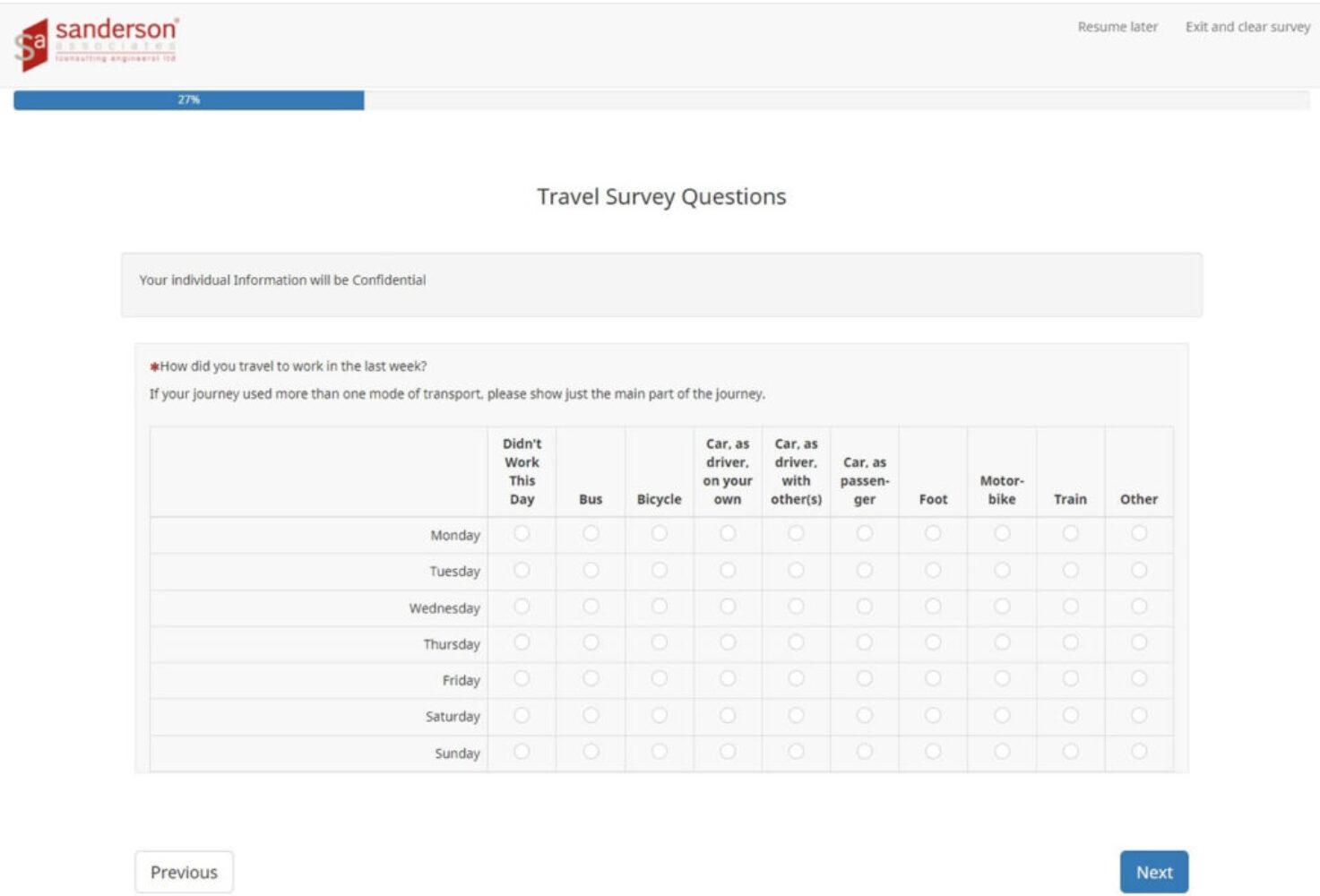 Travel Plan Online Survey